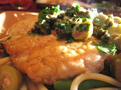 Chicken piccata with olives & fried capers