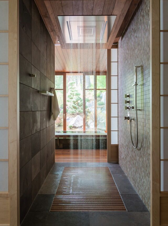 Master bathroom walk in shower house decor pinterest for House plans with walk through shower