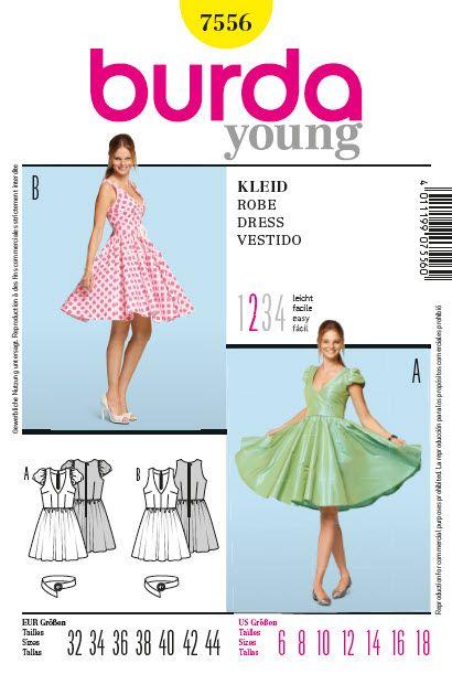 Patron de robe - Burda 7556 8.90€  Couture  Pinterest