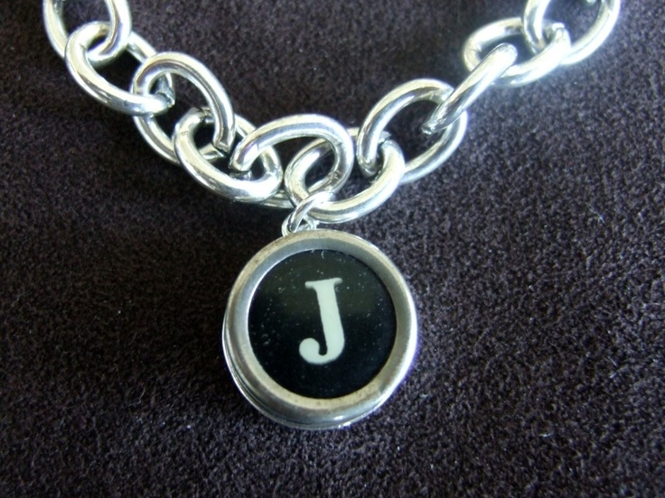 Initial letter j vintage typewriter charm bracelet black or white k