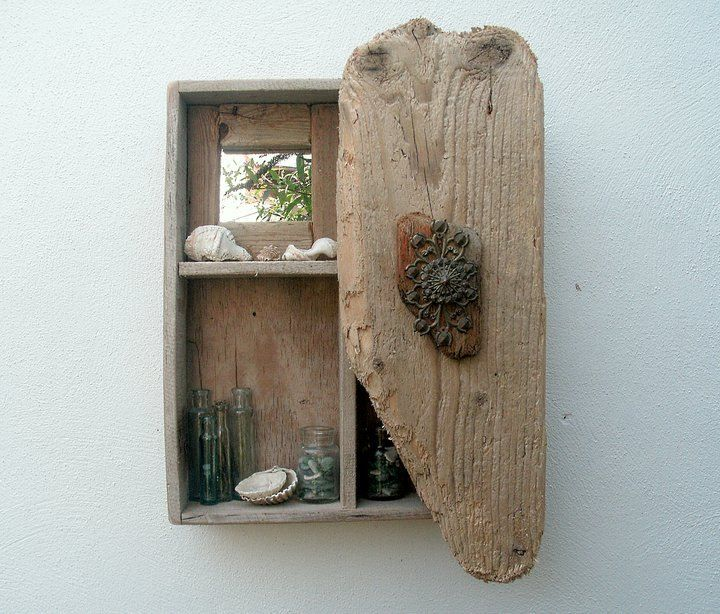 Driftwood wall cabinet driftwood home decor pinterest for Driftwood wall