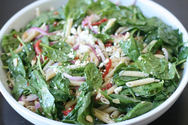 Spinach, feta, roasted red pepper pasta salad