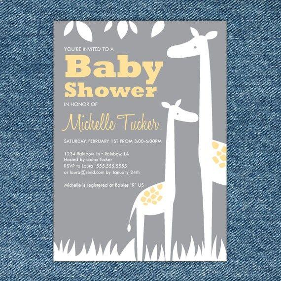 baby shower invitation printable yellow and gray giraffe baby