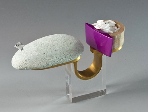 Kee Ho Yuen - 'planning an idea' ring 2012 - anodised aluminium, bird eye maple wood, brass, rock, acrylic paint, clear acrylic ... (EXPO Materiality)