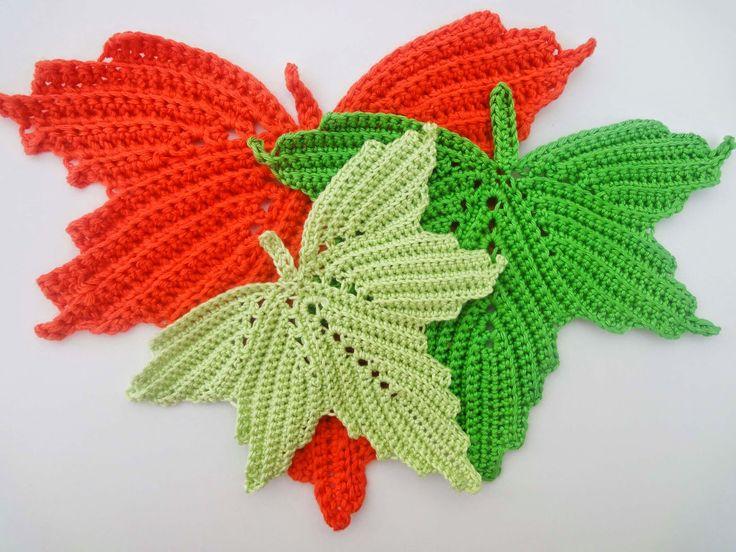 Вязание крючком листья