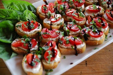 Goat Cheese and Tomato Crostini with Balsamic Glaze