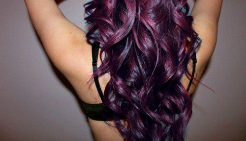 Hair, purple hair, curls