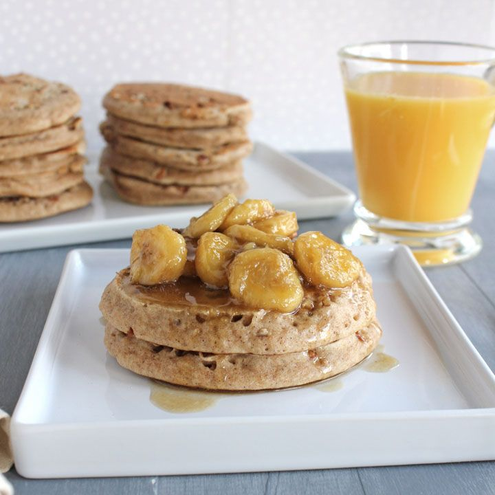 Banana Pecan Pancakes topped with caramelized bananas