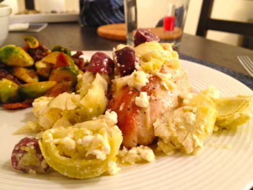 ... olives, and artichoke hearts; Brussels sprouts with bacon and raisins
