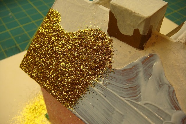 Tutorial for glamming up purchased papier-mâché houses.