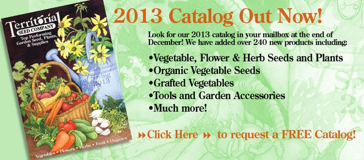 Territorial Seed Catalog ---Request a FREE Catalog