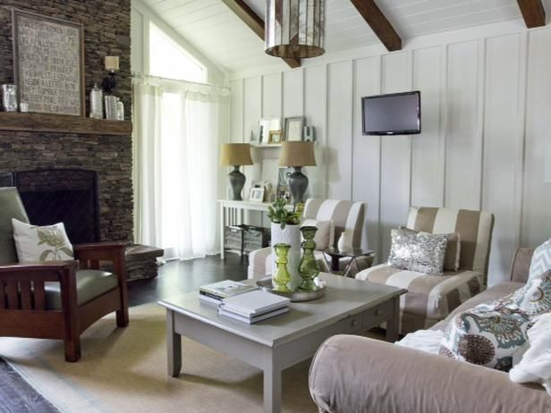 Board Batten Walls Vaulted Ceiling Painted White Decorating Pinterest