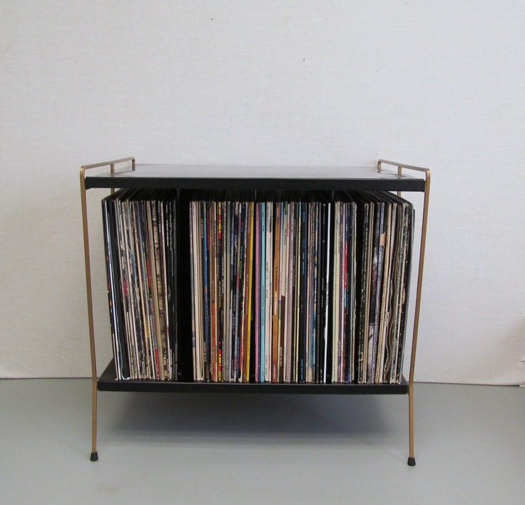 Vintage Mid Century Modern Record Player Table And Record Rack