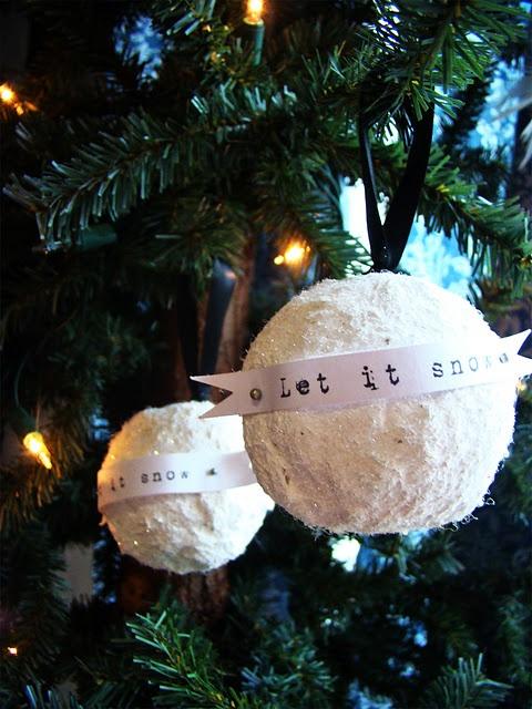 vintage glitter snowball ornaments
