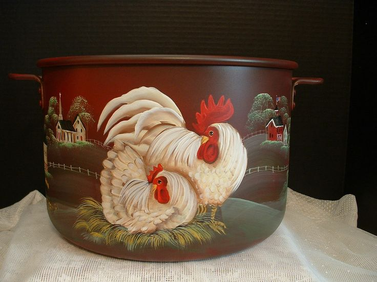 VINTAGE METAL KITCHEN KETTLE ROOSTERS HEN COUNTRY FARM PAINTED  FOLK ART BY JMD