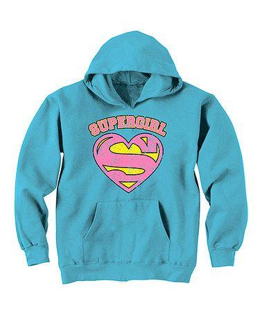 Look at this #zulilyfind! Aqua Supergirl Hoodie - Girls #zulilyfinds