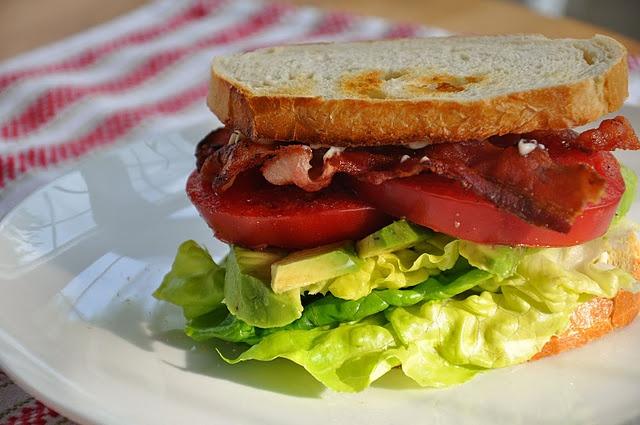 bacon, lettuce, tomato and avocado sammy. smear toasted bread with ...