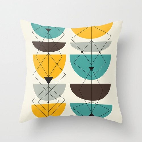 Mid Century Modern Pillow Covers : Geometric Throw Pillow Cover - Mid Century Modern Themed Pattern