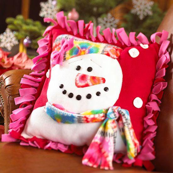 Fleece Snowman Pillow