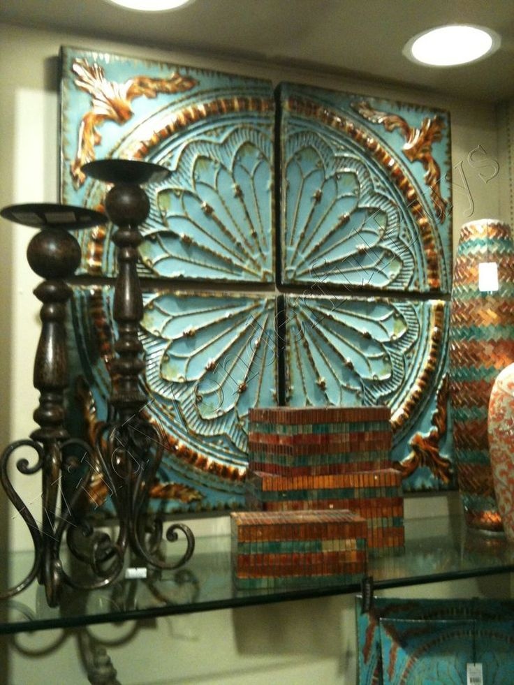Set Aqua Turquois Blue Medallion Metal Wall Decor Tuscan