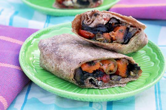 Roasted Sweet Potato Wraps with Caramelized Onions and Pesto | Recipe