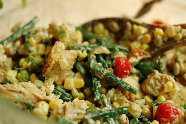 ... Salad of Chicken, Goat Cheese, Green Beans, Tomatoes & Wheat Berries