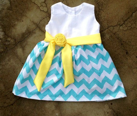 Baby dress blue and white chevron with yellow satin sash