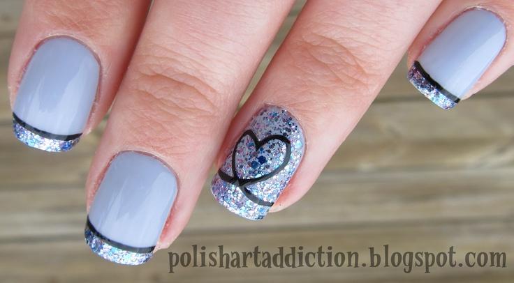 Lavender glitter tips