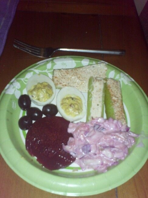 ... celery, cranberry sauce, deviled eggs, black olives, purple coleslaw