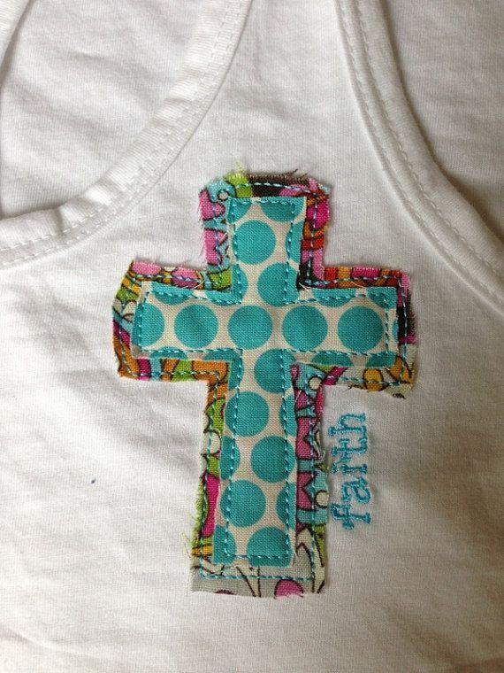 Cross applique tank for Applique shirts for sale