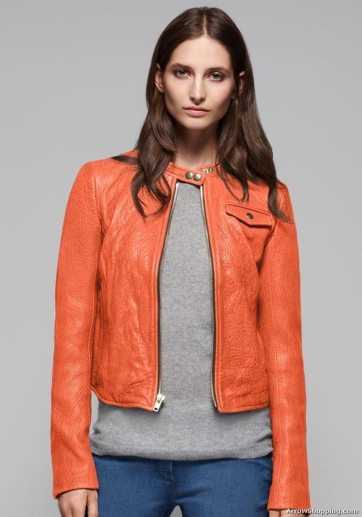 Women Orange Leather Jacket rfde3 | ArrowShopping | Pinterest