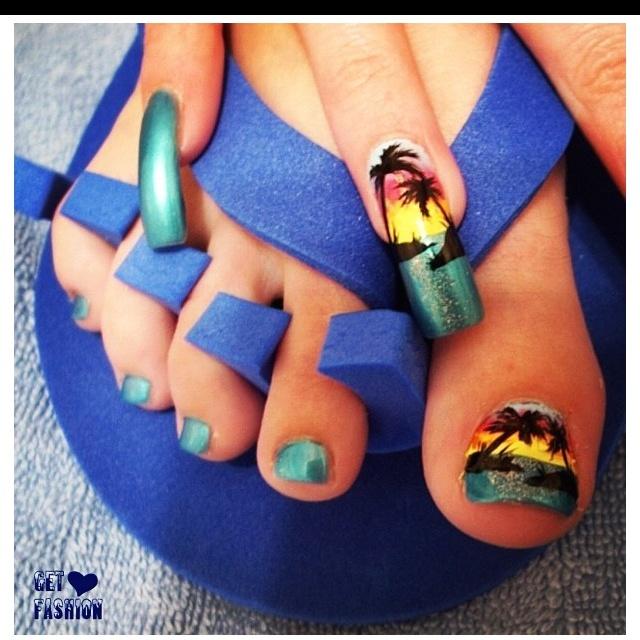beach nails  gross long nails but good design nail
