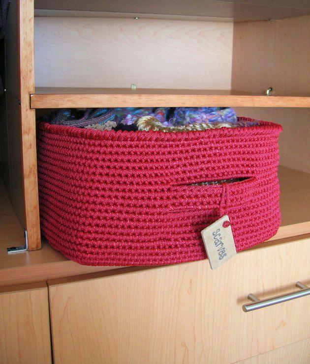 Crochet Rectangle Basket Pattern Free : Square Crochet Basket Organizer. Free Crochet Pattern ...
