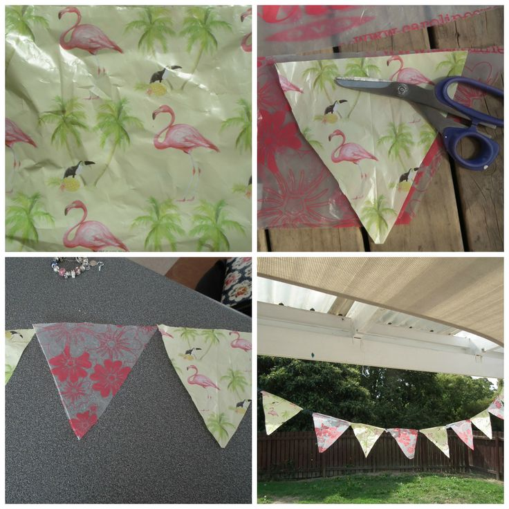 Thrifty Mama, cheap and cheerful outdoor bunting from plastic bags!