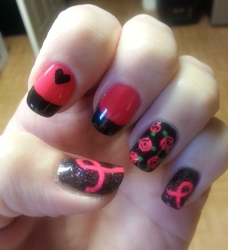 More Breast Cancer Awareness Nails | My Nail Art | Pinterest