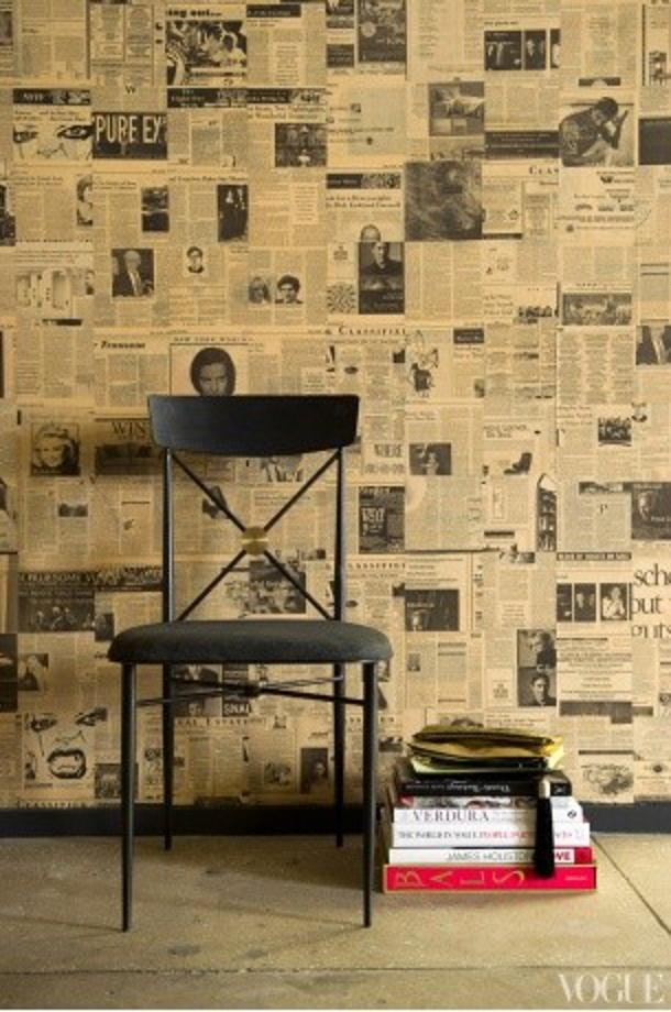 newsprint wallpaper interior design inspiration pinterest. Black Bedroom Furniture Sets. Home Design Ideas