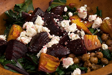 Roasted beet salad with winter greens, blue cheese, garbanzo beans and ...
