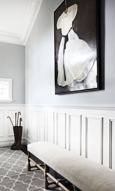dark oil, grey, white mouldings and Armadillo rug