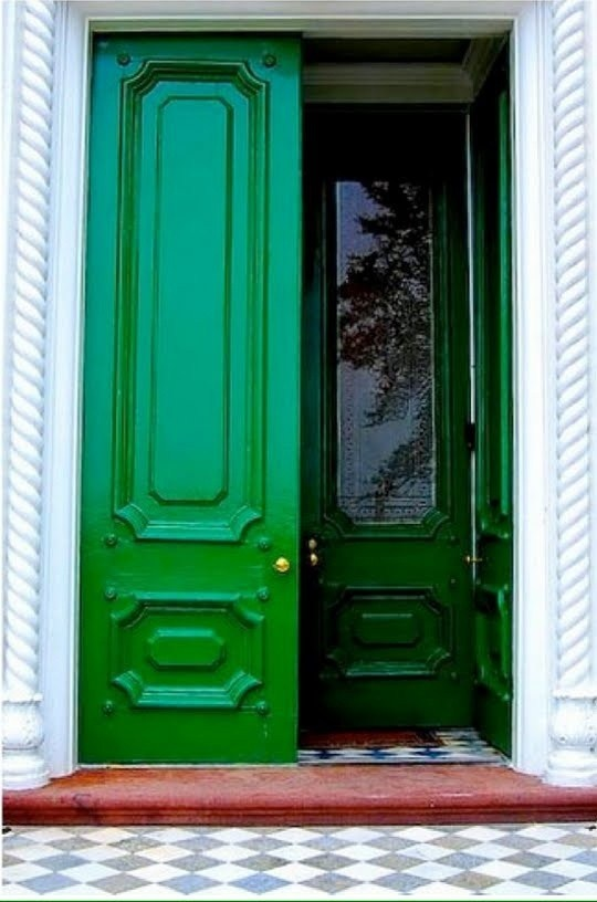 Green front door dwellings pinterest for Blue green front door