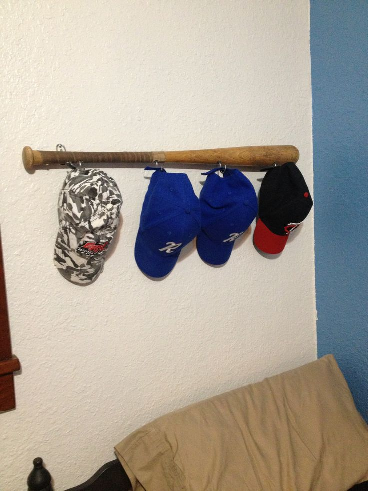 baseball bat hat rack for trent s room came out pretty