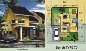 denah rumah minimalis sederhana type 70 minimalist home