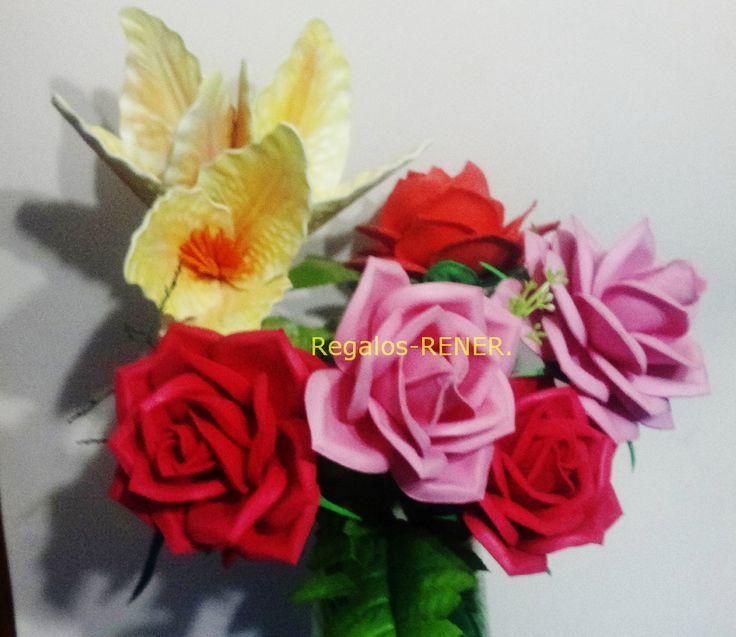 Rosas grandes en goma eva flores en foami goma eva - Flore de goma eva ...