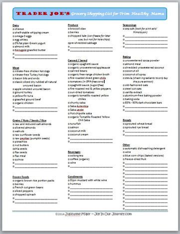 Free printable Trim Healthy Mama grocery shopping list for Trader Joe ...