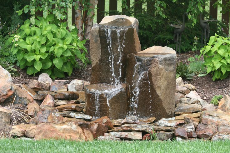 Garden rock fountain garden pinterest for Build outdoor rock water fountains
