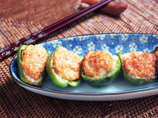 Green Peppers with Shrimp stuffing   Asian   Pinterest
