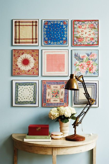 Framed vintage handkerchiefs - link to materials list & instructions...