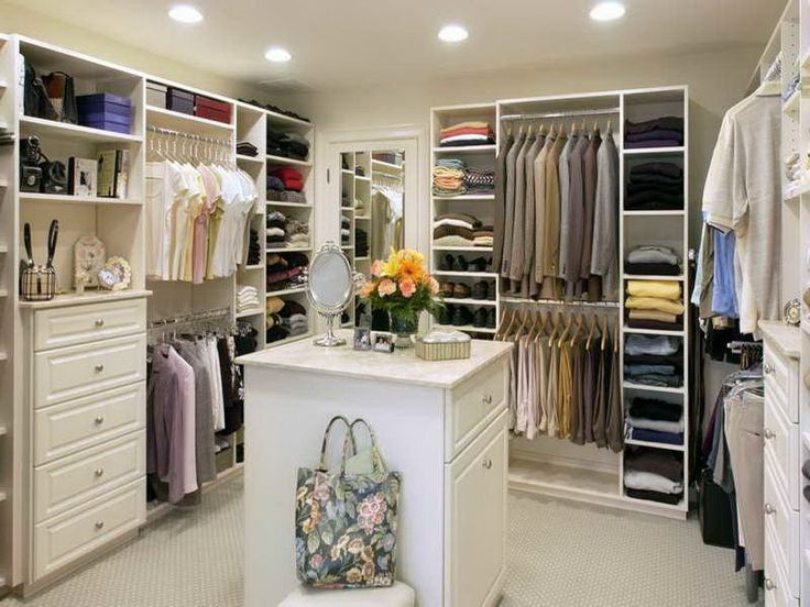 Walk in Closet with White Cabinets