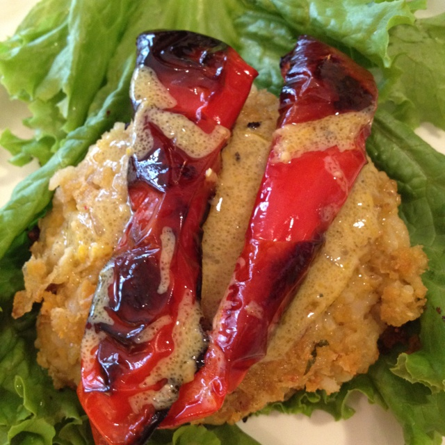 Chickpea Brown Rice Veggie Burger with Roasted Red Pepper & classic ...
