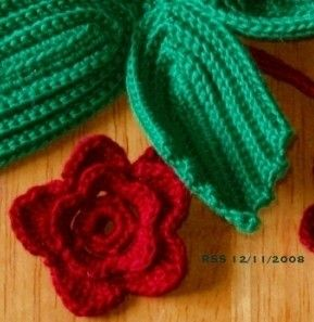 Crochet Hooks Ireland : Red Roses Keychain with Hook - 3D Irish Crochet Art ...