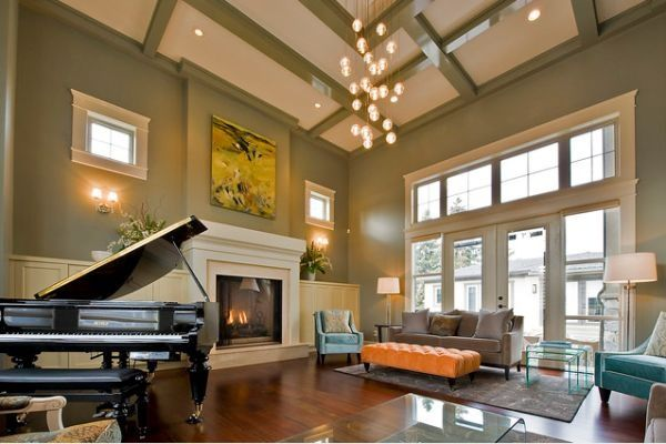 Pin by kathy schaffhauser on colors and dreams pinterest for Great room lighting high ceilings